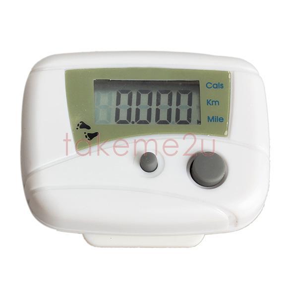 LCD Run Step Pedometer Walking Distance Calorie Counter Passometer White KK#Y(China (Mainland))