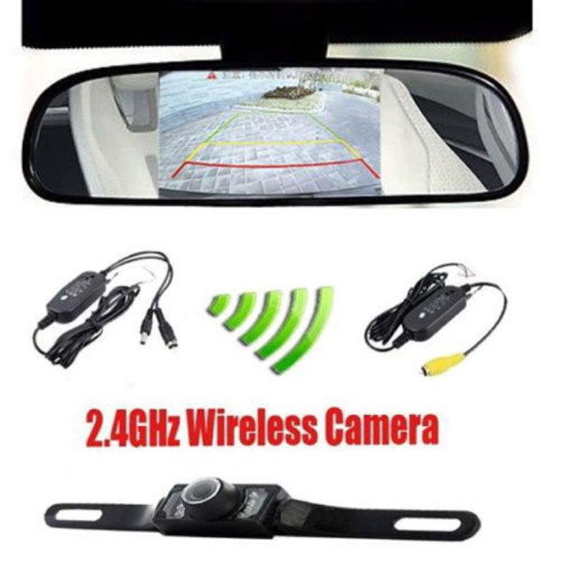 """4.3"""" Car TFT LCD Monitor Mirror+Wireless Reverse Car Rear View Backup Camera Kit(China (Mainland))"""