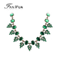 Candy Color Luxury Vintage Created Crystal Flower Statement Necklace  Women Created Gemstone Jewelry 2014