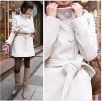 2014 New Fashion Winter Women Korean Temperament Ladies Belt Decorative Collar And Long Sections Woolen Coat Jacket 3 colors
