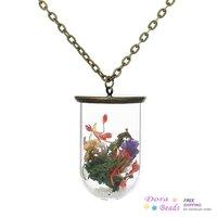 """Glass Jewelry Bottle Necklace Multicolor Flower White Sand Stone Antique Bronze 69.5cm(27 3/8"""") long,2PCs (C00544)"""