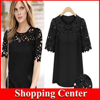 Freeshipping European Style Brand Fashion Lace Hollow-Out All-match PAtchwork Tops Blouse Women Shirt T-Shirt Spring Summer