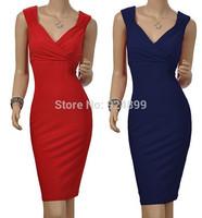 Free Shipping 2015 New Fashion Hot Sale Celebrite V-neck Party Evening Pencil Sexy Bodycon Women Summer Midi Dresses Size S-XL