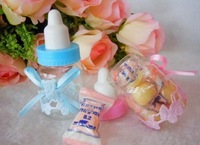 Baby Shower Little Bottle Baptism Favors Candy Gift Boxes Feeding bottle 2 Colors choose 50pcs/lot
