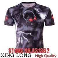 Top Fasion Plus Size Influx Ofbrand Personality SkullXL Relaxed Casual Round Neck3d T Shirt Men Men's Clothing Free Shipping