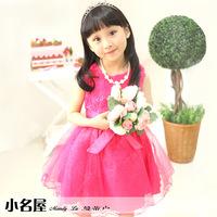 fashion gilrls evening party dress kids child rose flower with big bowknot princess dress