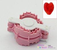 Plastic Love Heart Shape Pom Pom Maker Knitting Tool Pink&White 6.2x4.2cm,1Piece (B22497)