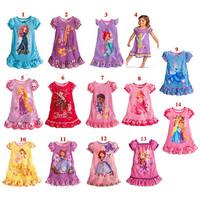 Wholesale 14 Style New 2014 Summer Girls Dresses Fashion Cartoon Short Sleeve Cotton Princess Dress Kids Clothes Gifts C10W08