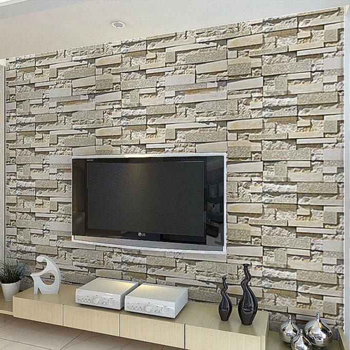 Achetez en gros papier peint brique en ligne des for Fausses pierres murales