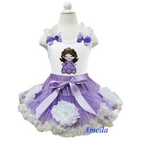 Halloween Gorgeous Lavender Cream Pettiskirt Princess Sofia the First Tank Top Party Dress 1-7