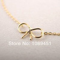 2014 New Arrival Fashion Dainty Bow Bracelet in Silver/Gold/Rose Gold 30pcs/lot Best Gift Free Shipping Drop Shipping