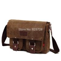 Men and Women Vintage Canvas Leather School Military Shoulder Travel Crossbody Bag Messenger Bags