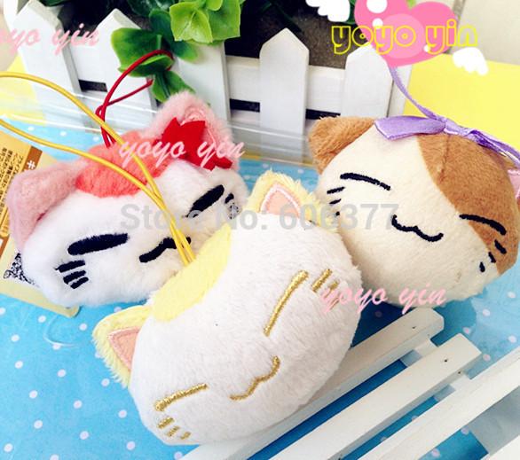 8CM Japan Cartoon Original Cat Stuffed Plush Toy Phone Charm With Original Original Cloth Tags Toys Gifts For Kids(China (Mainland))