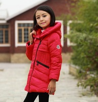 2014 new 3 -10 yrs winter down jackets for girls 70% white duck down parkas children outerwear long with hoodies kids coat
