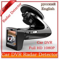 "2014 New Russian Radar Detector+Car DVR 2.0""LCD G-Sensor 140 Degree View Angle Speed Radar Detector car camera Free shippging"