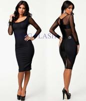Free Shipping Black Long Sleeve Women Evening Sexy Knee Length See Through Dresses Bodycon Mesh Dress SV000659