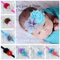 Shabby Frayed Flower & Tull Pearl Mesh Flower Headband Baby Girl Hairband Toddler Headband Photo Props 10pcs HBD06