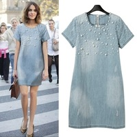 S M L XL XXL New 2014 Vintage Beading Denim Casual Dress Fashion Short Sleeve Summer Dress Loose Women Dress Free Shipping D809