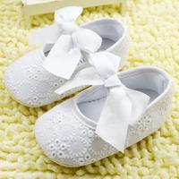 Infant Baby Girls Toddler Shoes Ribbon Bowknot Soft Bottom Shoes Kids Cotton White Flower Prewalker Free Shipping