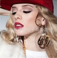 2014 New European UK Women's Gold Digital Transparent Earrings Female Rock Party Wild Dangle Earrings Temperament Large Earrings