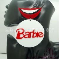 2014 New European UK Women's Exaggerated Big White Red Acrylic Earrings Female Rock Bar Red Lips Stud Earring Letters Earrings
