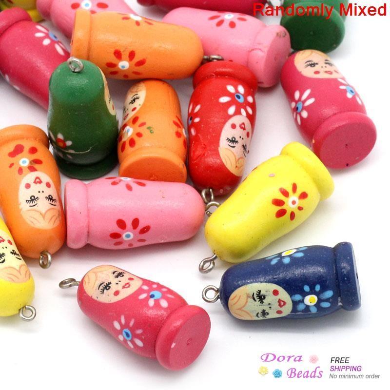 "Wood Charm Pendants Russian Doll Mixed 3.5cm x 1.6cm(1 3/8""x 5/8""),20PCs (B29205)(China (Mainland))"