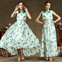 High Quality Women Chiffon Slim Leaf Print Dress Sleeveless Turn-down Collar Color Block Dress Beautiful Dress For Women 86038#