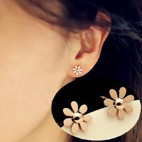 Little daisy flower stud earring titanium rose color gold earring earrings female