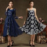 An Exclusive Design High-grade Vintage Chiffon Print Dress For Women Lace Patchwork Silk Long Sleeve Two-piece Dress 86688#