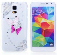 IMPRUE Handmake Case with pink butterfly Pattern Diamond Bling Case Cover For Samsung S5 With PP Packing Free Shpping