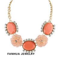 2014 Women Candy Created Gemstone Jewelry Flower Choker Necklace & Pendants for Women Paved with Rhinestone Wholesale