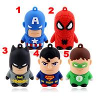 200pcs/lot, 9 Style Super Hero usb flash drive disk 2gb 4gb 8gb 16gb Thumb Stick pen drive Gift