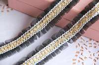 DIY black gauze mesh lace fabric with gold thread braid lace, handmade diy clothes accessories lace trim 2.5cm