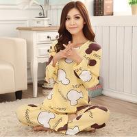 South Korean women cotton long-sleeved pajama set spring and autumn ladies Pyjamas cartoon milk silk nightgown