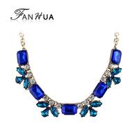 Blue Rhinestone Romantic Style Zinc Alloy New 2014 Summer Designer Statement Necklace Fashion Bijoux For Women