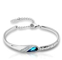 Silver bracelet female fashion 925 silver female crystal bracelet hand ring silver