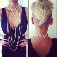 Shiny Cut Gold Plated Chains Necklace Choker Chunky Body Chain Punk Boho Gothic Statement Necklaces Jewelry Items