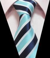 high quality White Dark Blue Light Blue Stripe Pattern Silk Tie Jacquard Woven Man Necktie