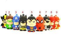 9 Style Super Hero usb flash drive 4gb 8gb 16gb 32gb pen drive Thumb Stick Hot Gift, 2pcs/lot