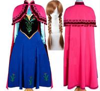 PROMOTION! New 2014 Custom Movie Cosplay Set Fatasia Festa Frozen Party Princess Anna Costume Women Frozen Dress include wigs