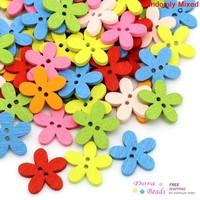 Wood Sewing Buttons Scrapbooking Flower 2 Holes Mixed 14x15mm,200PCs (B28602)
