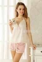 Cotton silk pajama set suspenders sexy summer sweet piece nightgown