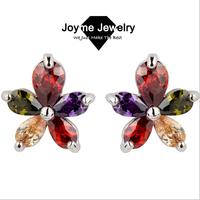 Joyme 2014 new fashion charm 5 leaves of grass Dangle Earrings top Quality Cheap earrings for women CZ jewelry