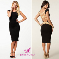 2014 summer  sexy knee-length dress Bandage  Celebrity backless bodycon dresses
