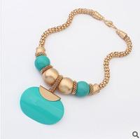 2014 New European Fashion Light Blue Bohemian Necklace Good Quality Pendant Necklaces