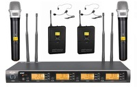 2 Headset and 2 Handheld Set Professional 4x100 Channel UHF Wireless Karaoke Microphone System