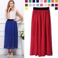 Free Shipping Women Skirts New Fashion 2014 Summer European Style Chiffon Pleated Bohemian Long Skirts 1305