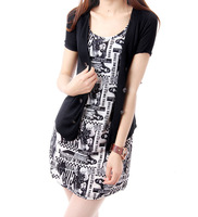 European Grand Prix 2014 latest European and American big letters sleeved cardigan jacket vest dress two-piece dress