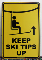 Tin sign keep ski tips up Warning Metal Decor Wall Art Vintage Rustic Beach Store Bar M-92