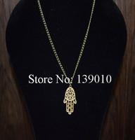 Free Shipping!6PCS/LOT!Wholesale Retro Alloy Palm Chain Cuff Necklace Pendant Charm Fashion Heart Unisex Costume Jewelry WJ-009